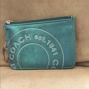Coach card holder, blue, teal, with keychain